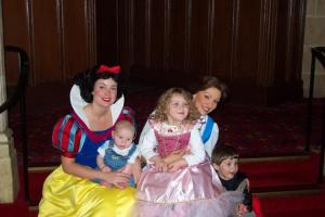 A picture of Jessica, Josh, and Jacob with Snow White and Belle - Disney, 2002